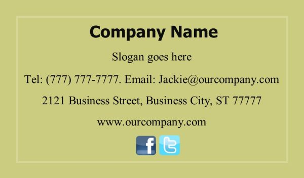 Business Card #22 Back